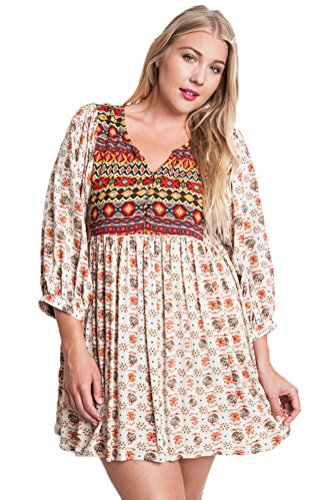 Taupe Mix (Umgee Women's Boho Style Taupe Mix Printed Baby Doll Dress Plus Size (1X))