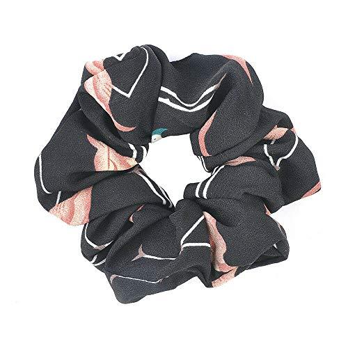 (Hair Rope Ring Tie Scrunchie Ponytail Holder Flamingos Hair Band Women Hotsale (Color - Black))