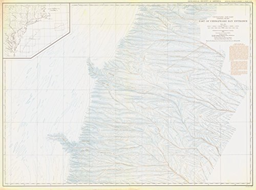 Vintography 18 x 24 Canvas 1938 USA Old Nautical map Drawing Chart United States - East Coast Coastal Slope East Chesapeake Bay Entrance from NOAA ()
