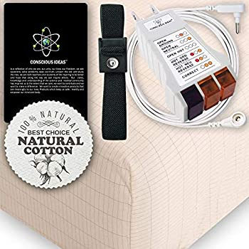 Image of Earthing Grounding FULL Size Fitted Matress Sheet (BEIGE) 400TC Pure Silver Thread Conductive Earth therapy bedding Blanket, Natural Energy | 95% Organic Cotton For Better Sleep | Connection Cord Home and Kitchen
