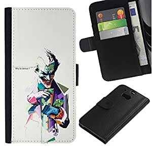HTC One M8 , la tarjeta de Crédito Slots PU Funda de cuero Monedero caso cubierta de piel (Why So Serious ? Joker)