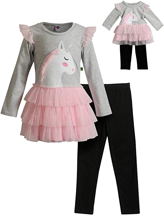 Dollie /& Me Girls Apparel Knit Legging Set with Matching Doll Outfit