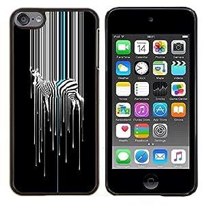 KLONGSHOP // Cubierta de piel con cierre a presión Shell trasero duro de goma Protección Caso - Arte Minimalista Blanco Negro Stripes - Apple iPod Touch 6 6th Touch6 //