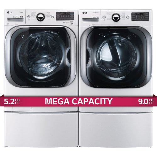 LG Titan Laundry Pair - MEGA CAPACITY - Washer, GAS Dryer and Pedestal Package! WM8000HWA, DLGX8001W WDP5W