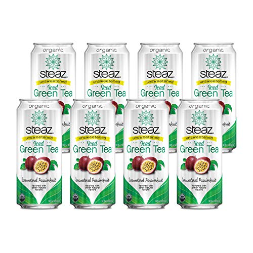 Steaz Organic Unsweetened Iced Green Tea, Passionfruit, 16 FL OZ (Pack of 8)