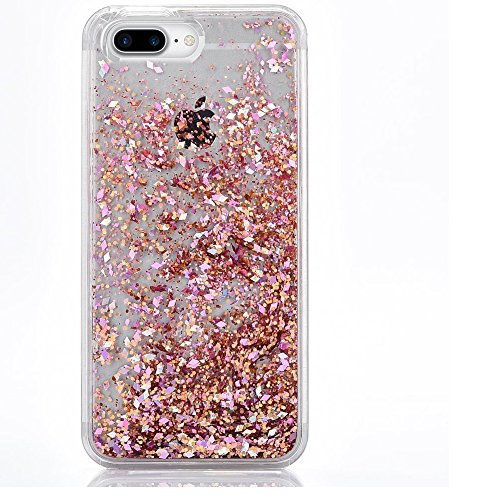 iPhone 7 Plus Case, SUPVIN Liquid Case Fashion Creative Design Flowing Liquid Floating Luxury Bling Glitter Sparkle with Rhinestone Diamond Pattern [TPU+PC] for iPhone 7 Plus (Diamond- Rose Gold)