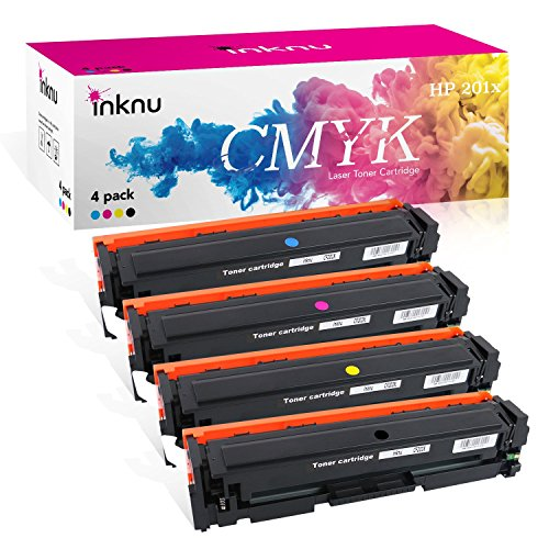 Inknu HP 201x(CF400x) 4-Pack Color Toner for HP Printer - 1xBlack, 1xCyan, 1xMagenta, 1xYellow OEM Quality High Capacity Cartridge - Easy Install Design by inknu