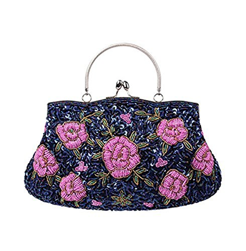 Beaded Flower Tote - Mogor Women's Vintage Clutch Handbag Flower Beaded Evening Tote Bag Blue