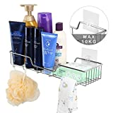 HOMODELIA Adhesive Shower Caddy Bathroom Shelf Organizer Storage Holder Wall Mounted Kitchen Spice Rack with Traceless Transparent Adhesive SUS304 Stainless Steel - No Drilling