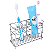 Flytaker Toothbrush Holder Toothpaste Holder Stand Bathroom Storage Organizer Rack for Vanity Countertops - Food Grade Stainless Steel (New Pattern)