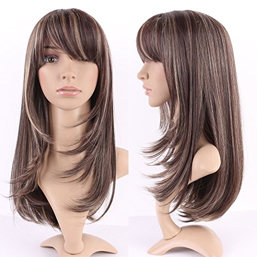S-noilite Women Long Straight Hair Wig Natural Ombre Mix Heat Resistant Cosplay Party Daily Full (1920 Hairstyles For Long Hair)