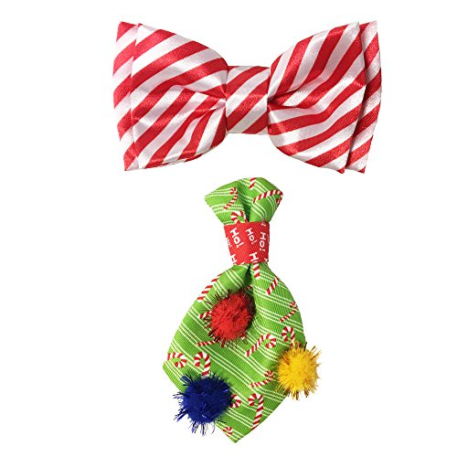 Bow & Arrow Pet Holiday Dog Collar Candy Cane Neck Tie and Candy Stripe Bow, Christmas Accessories for Dogs (Set of 2)