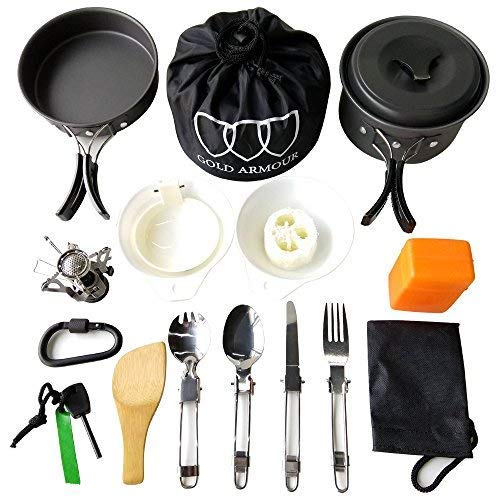 (Gold Armour 10-17Pcs Camping Cookware Mess Kit Backpacking Gear & Hiking Outdoors Bug Out Bag Cooking Equipment Cookset | Lightweight, Compact, Durable Pot Pan Bowls (Black, 17pcs))