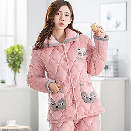 MH-RITA Pijama mujer invierno y otoño coral de tres capas de terciopelo, engrosamiento