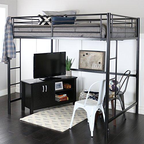 WE Furniture Modern Metal Pipe Full Double Size Loft Kids Bunk bed Bedroom Storage Guard Rail Ladder, Black