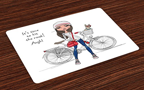Cute Place Mats Set of 4 by Lunarable, Hipster Fashion Girl with Bicycle and Cute Dog with Sunglasses Inspirational Quote, Washable Placemats for Dining Room Kitchen Table Decoration, Red Grey - Sunglasses Blues Quotes Brothers