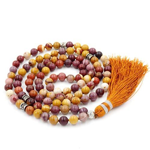Mala Beads Necklace, Mala Bracelet, Buddhist Prayer Beads Necklace, Tassel Necklace (Mookaite) ()