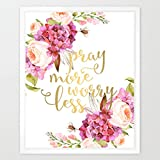 Eleville 8X10 Pray more worry less Real Gold Foil and Floral Watercolor Art Print(Unframed) Housewarming Gift Christian Art Bible Verse Motivational Birthday Wedding Holiday WG081