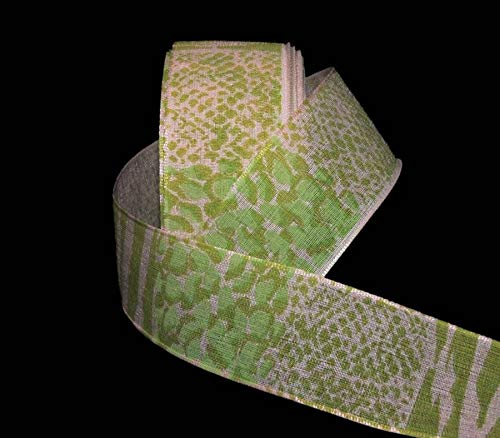 Ribbon Art Craft Decoration 15 Yards Animal Print Green Pink Reptile Snake Skin Ribbon 1 1/2
