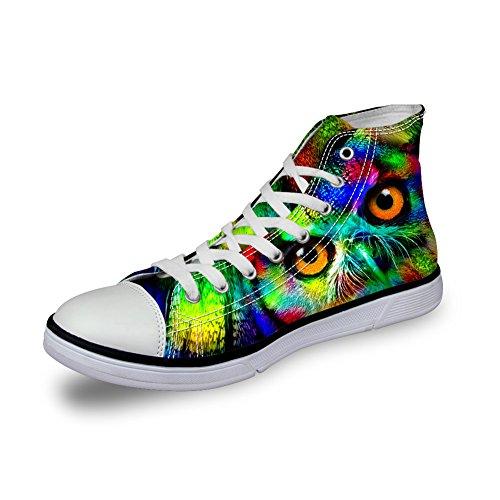 Bigcardesigns Unisex Casual Hoge Canvas Sneakers Kleurrijke Dieren Lace Up Uil