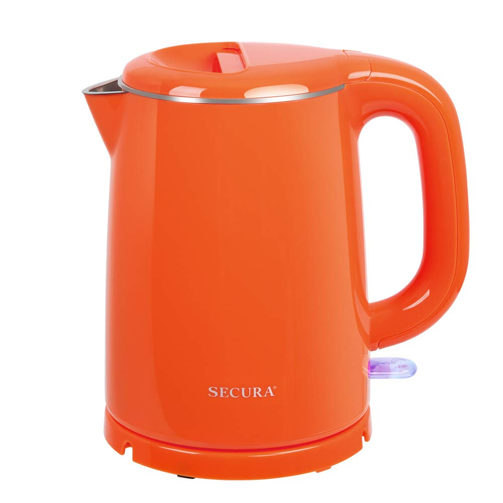 Secura Stainless Steel Double Wall Electric Kettle Water Heater for Tea Coffee w/Auto Shut-Off and Boil-Dry Protection, 1.0L (Orange)