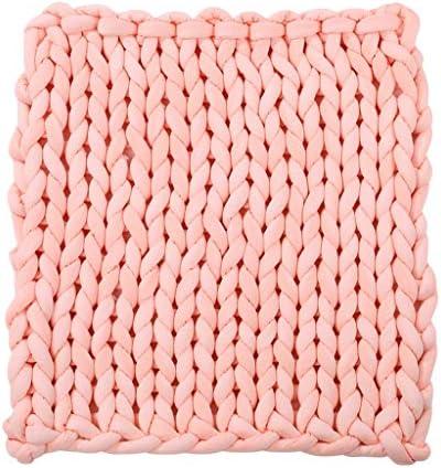 perfeclan - Couverture Tricotée à La Main - Tapis De Plage - Tapis - Crochet - 120 x 100cm - Rose, comme décrit