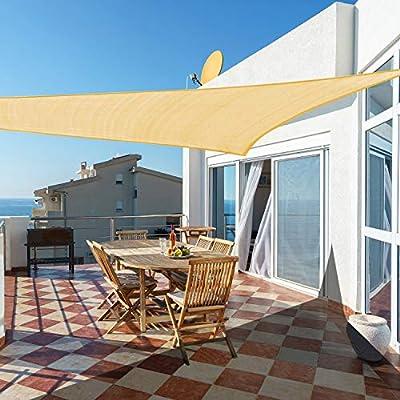 Cool Area Toldo Vela de Sombra Triangular 5 x 5 x 5 Metros Protección Rayos UV, Resistente y Transpirable para Patio Exteriores Jardín, Color Arena: Amazon.es: Jardín