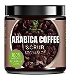 Exfoliating Coffee Body Scrub - Best Exfoliator Sea Salt Olive Oil & Shea Butter - Acne Treatment Exfoliate Moisturize Tone & Reduce Cellulite Premium Nature