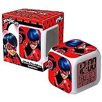 Ladybug Réveil Cube numérique Lumineux Miraculous LED 7 Couleurs Température / Date / Alarme Enfant