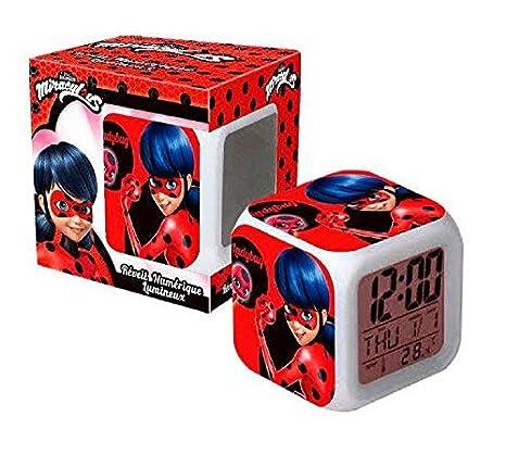 Ladybug Despertador Prodigiosa Cubos Digital Led 7 Colores Temperatura / Fecha / Alarma niños: Amazon.es: Juguetes y juegos
