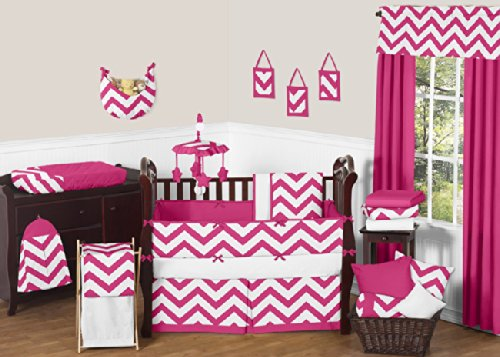 Hot Pink Design - Sweet Jojo Designs 9-Piece Hot Pink and White Chevron ZigZag Baby Bedding Girl Crib Set