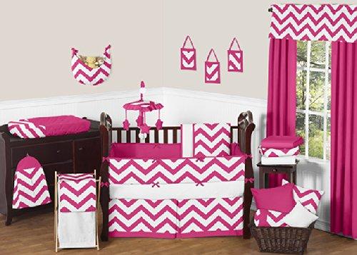 Sweet Jojo Designs Hot Pink and White Chevron ZigZag Baby Bedding 9 Piece Girl Crib Set