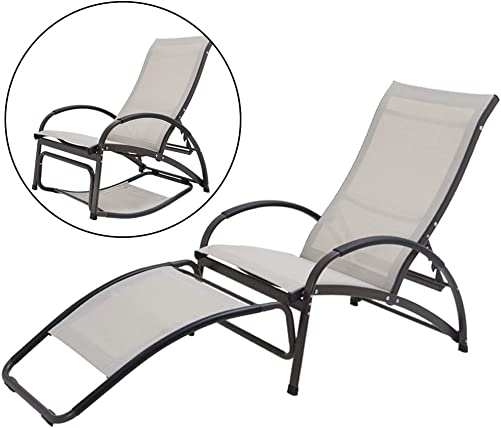 Crestlive Products Outdoor Folding Reclining Chaise Lounge Chair, Aluminum Adjustable Portable Sun Tanning Rocking Lounger, All Weather in Brown Finish for Lawn, Patio, Deck, Poolside Tan