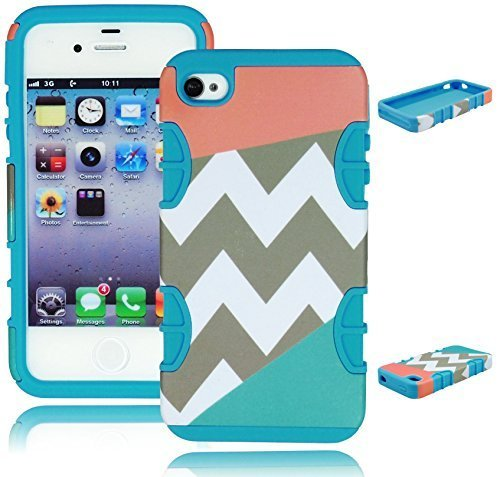 Bastex Heavy Duty Hybrid Case For Apple iphone 4, 4g, 4s 4gs - Sky Blue Silicone - Tri Split Chevron with Coral Pink and Light Blue Teal Design Hard Shell Cover (Coral Iphone 4 Case)