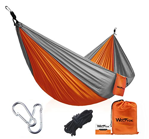 Portable Camping Hammock [3rd Generation] Wolfyok(TM) Multifunctional Lightweight Nylon Parachute Outdoor Hammock for Backpacking, Camping, Travel, Beach, Backyard (Single,Orange/Gray)
