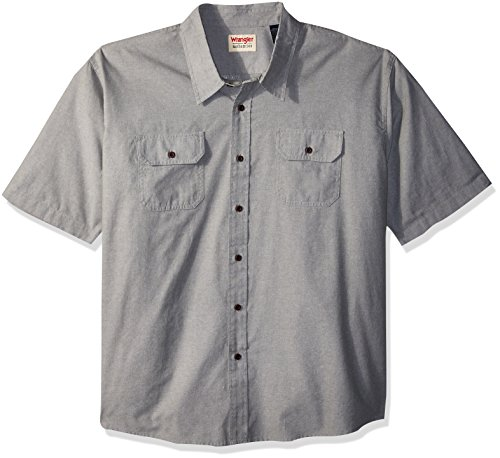 Wrangler Authentics Men's Big and Tall Short Sleeve Classic Woven Shirt, sea Spray Chambray, 3XL (Woven Shirt Sleeve)
