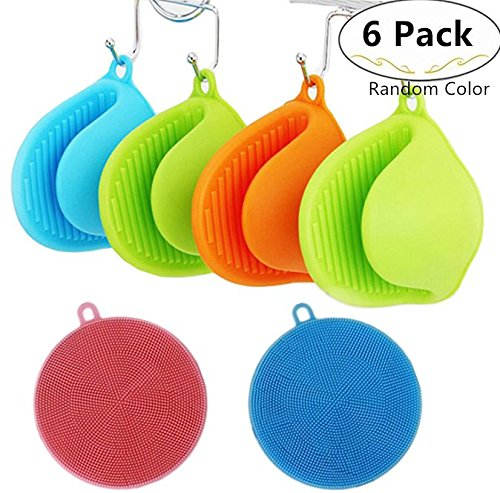 4 Pieces Silicone Oven Mitts + 2 Pieces Silicone Dishwashing Scrubbers, Carnatory Heat Resistant Cooking Pinch Mitts, Non-Slip Kitchen Gloves Pot Holder, Cooking Pinch Grips for - Glasses To Of Get How Scratches Off