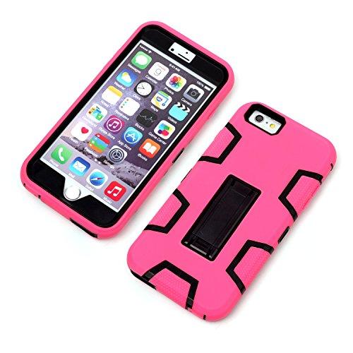 iPhone 6 / 6S Plus Shockproof Custodia,Heavy Duty Nero Rosa PU & PC Urti Assorbimento Case Robusto Back Paraurti Caso Armatura ibrida Kickstand Protettiva Case Shell Cover per iPhone 6 / 6S Plus