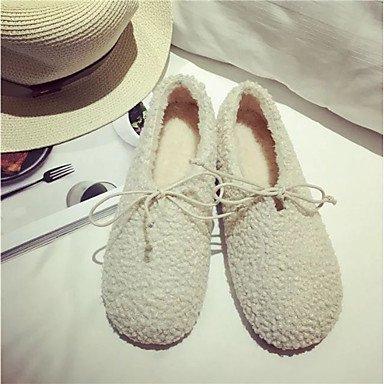 US7.5   EU38   UK5.5   CN38 Beige Wuyulunbi@ Chaussures femmes de confort d'hiver ApparteHommests Talon plat bout rond pour les