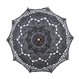 Remedios(16 colors) Lace Parasol Umbrella for Wedding Bridal Party Decoration (Black-)
