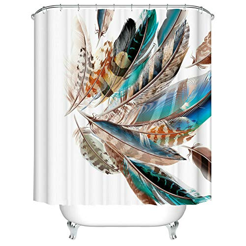 youyoutang Shower Curtain Decor Feather Print Polyester Waterproof Bath Curtains 12 Shower Hooks 70.8X70.8 Inch Home Decoration Bathroom Accessories