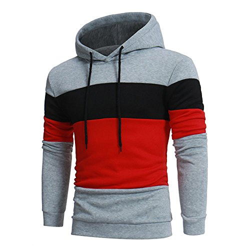 iYBUIA Men's Three Colors Long Sleeve Patchwork Hoodie