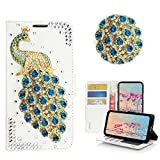 STENES Moto Z3 Play Case - Stylish - 3D Handmade Bling Crystal Peacock Design Magnetic Wallet Credit Card Slots Fold Stand Leather Cover for Moto Z3 Play (2018) - Green