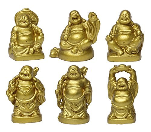 Feng Shui 2'' Golden Resin Laughing Buddha Statue Figurines Set of 6 BS019 (Gold Buddha Statue)