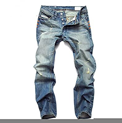 Amoin Men's Stylish Slim Fit Straight Leg Jeans Trousers