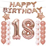 18th Birthday Decorations Party Supplies,18th Birthday Balloons Rose Gold,Number 18 Mylar Balloon,Latex Balloon Decoration,Great Sweet 18th Birthday Gifts for Girls,Photo Props