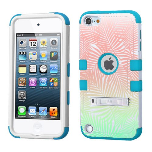 iPod touch 5th 6th Generation Palm Tree Leaves Ombre Case 3-Piece Style Hybrid Hard Cover for Apple- For Girls And Boys-Shockproof Dustproof with Stand (Palm Tree Leaves Ombre)