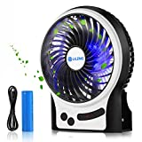 Esup Portable Rechargeable Battery Fan with LED Light, 3 Speeds, for Home Office and Travel, Black, Perfect School Supplies