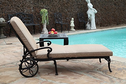 A Pair of 2 Kawaii Collection Cast Aluminum Powder Coated Chaise Lounge with Lite Brown Seat Cushions by CBM Chaise Lounge