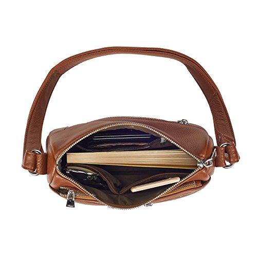 41c476432e Lecxci Women s Large Soft Leather Multi-purpose Crossbody Handbag Shoulder Travel  Bags Purses for Women (Brown)